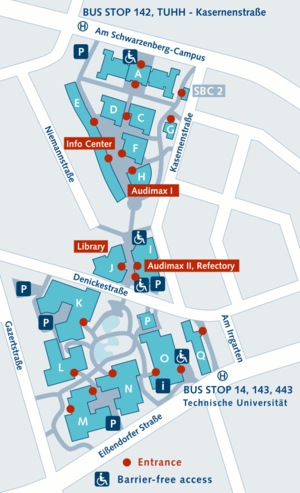 TUHH Campus Map. The institute is in building D.