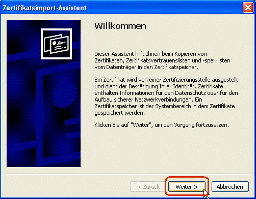 Internet Explorer:Zertifikatsimport Assistent