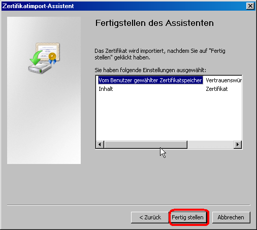 Internet Explorer:Fertigstellen des Assistenten