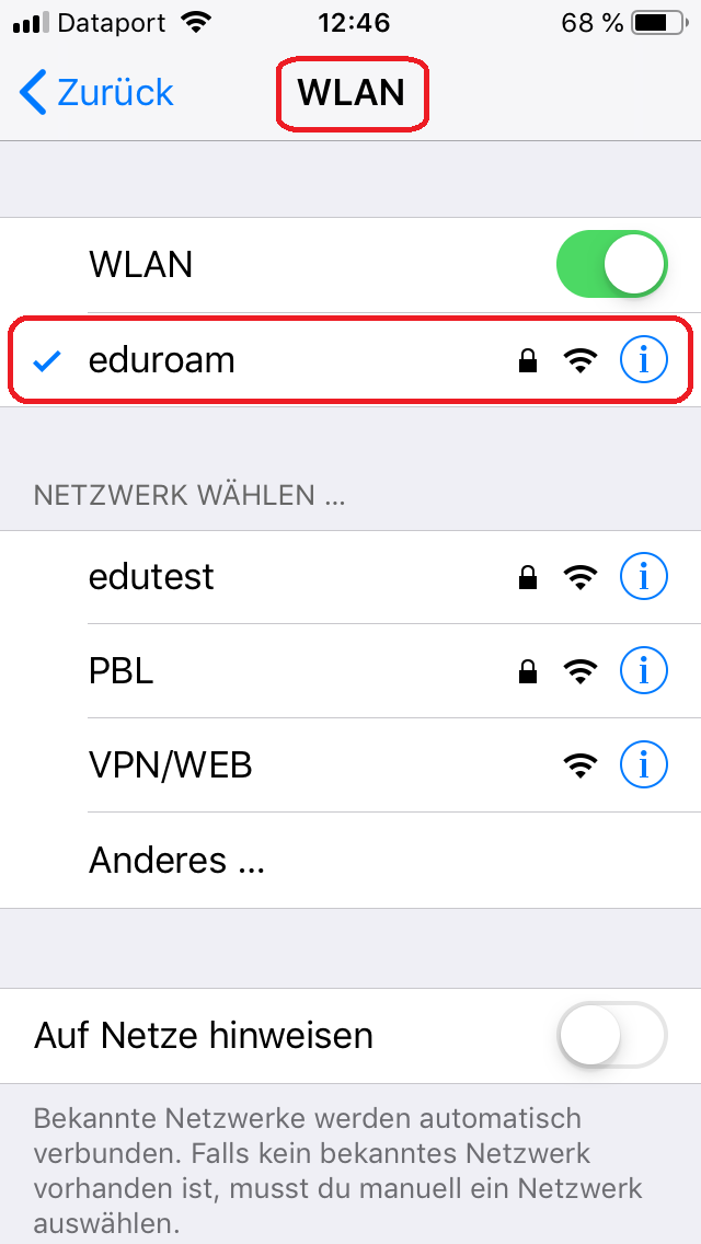 install eduroam CAT profile